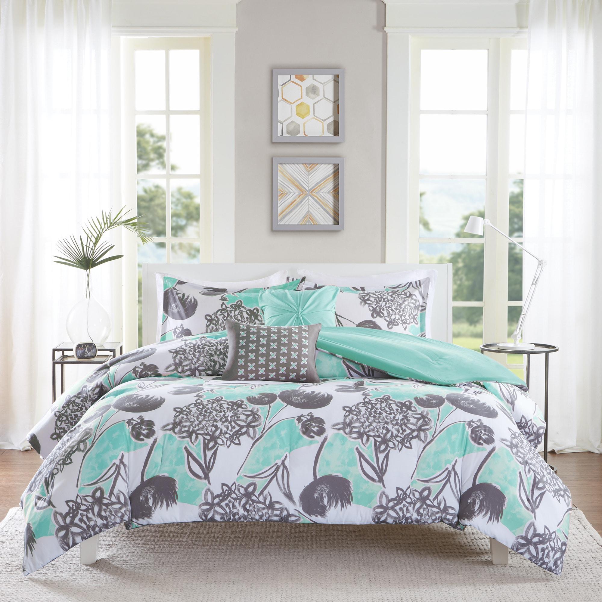 Intelligent Design Lily Aqua Comforter Set Overstock 11454274