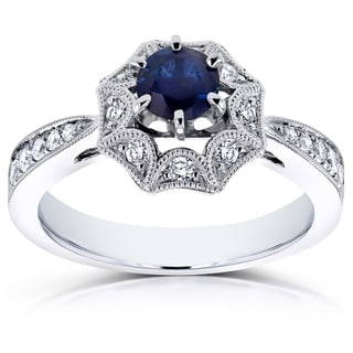 Annello by Kobelli 14k White Gold Sapphire and 1/4ct TDW Diamond Milgrain Engagement Ring