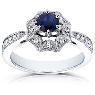 Annello 14k White Gold Sapphire and 1/4ct TDW Diamond Milgrain Engagement Ring (H-I, I1-I2)