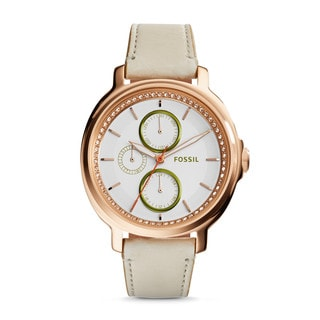 Fossil Women's ES3930 Chelsey Multi-Function Silver Dial Tan Leather Watch