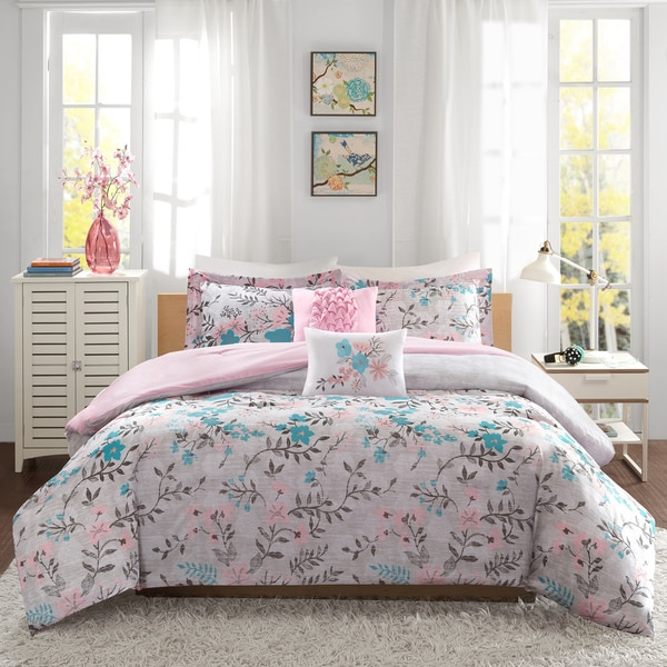 Intelligent Design Lucy Pink/ Teal 5-piece Comforter Set