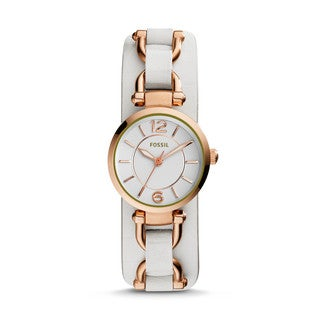 Fossil Women's ES3934 Georgia Artisan Silver Dial White Leather Watch