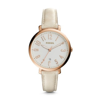 Fossil Women's ES3943 Jacqueline Silver Dial Tan Leather Watch