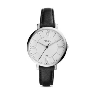 Fossil Women's ES3972 Jacqueline Silver Dial Black Leather Watch