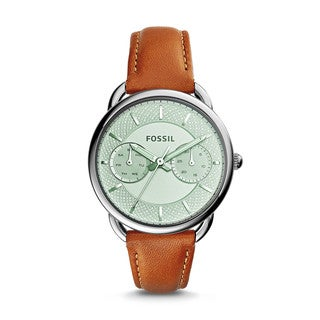 Fossil Women's ES3977 Tailor Multi-Function Silver Dial Brown Leather Watch