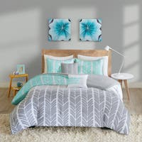 Intelligent Design Kennedy Aqua/ Grey Comforter Set
