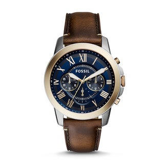 Fossil Men's FS5150 Grant Chronograph Blue Dial Brown Leather Watch