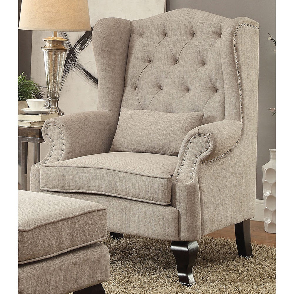 Gracewood Hollow Leiber Traditional Tufted Wing back Armchair