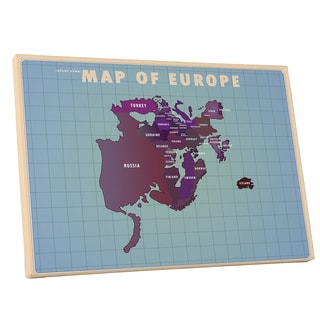 American Flat 'Europe Upside Down' Gallery Wrapped Canvas Wall Art