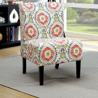 Furniture of America Bessia Modern Patterned Black Wood Accent Chair