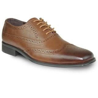 BRAVO Men Dress Shoe MILANO-1 Wingtip Oxford Brown