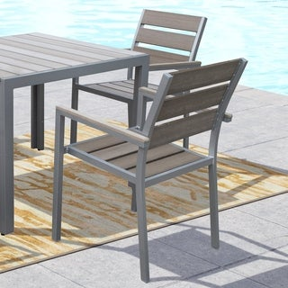 CorLiving Gallant Sun Bleached Grey Outdoor Dining Chairs