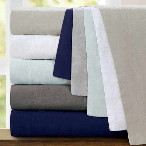 Echelon Home Washed Belgian Linen Deep Pocket Bed Sheet Set
