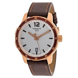 Tissot Men's T0954103603700 Quickster Round Brown Leather Strap Watch