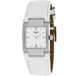 Tissot Women's T0903106611600 T2 Rectangle White Leather Strap Watch