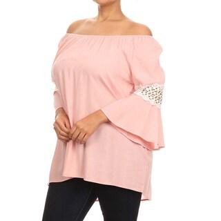 MOA Collection Women's Plus Size Crochet Lace Top