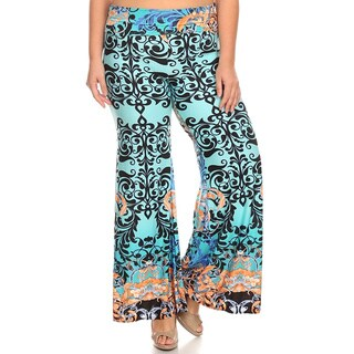 MOA Collection Women's Plus Size Paisley Palazzo Pants