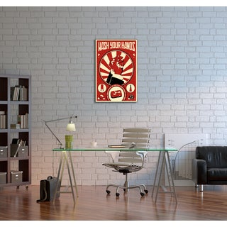Steve Thomas 'Wash Your Hands' Gallery Wrapped Canvas Wall Art - Red