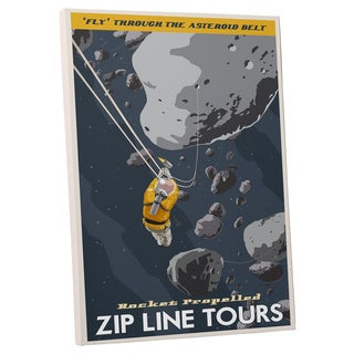 Steve Thomas 'Zip Line the Asteroid Belt' Gallery Wrapped Canvas Wall Art - Blue
