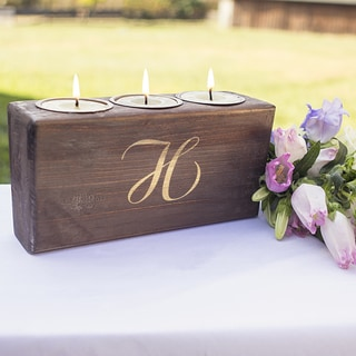 Personalized Rustic Head Table Candle Holder