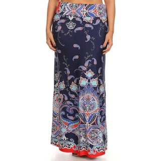 MOA Collection Women's Plus SizePrinted Maxi Skirt