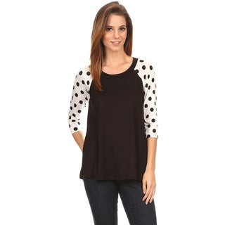 MOA Collection Women's Polka Dot Sleeves Top