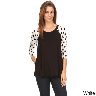 MOA Collection Women's Polka Dot Sleeves Top