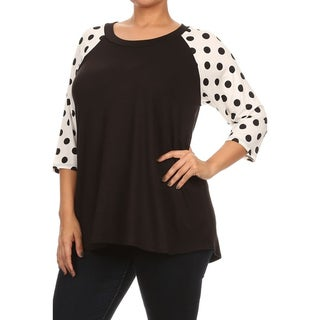 MOA Collection Women's Plus Size Polka Dot Sleeves