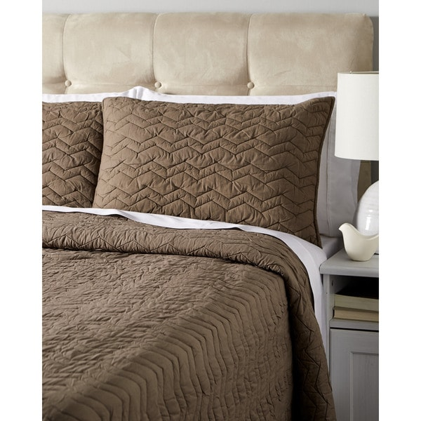 Chevron Taupe Cotton Quilt