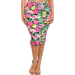 MOA Collection Women's Plus Size Floral Pencil Skirt