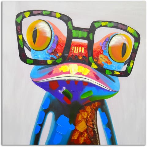 Frog Spectacle Original Oil Painting on Canvas
