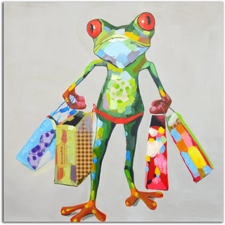 Gifts Shopping Frog Original Oil Painting on Canvas