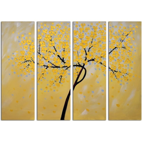 Golden Petals Original Oil Painting on Canvas - Set of 4