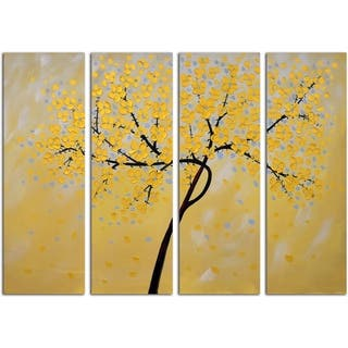 Golden Petals Original Oil Painting on Canvas - Set of 4|https://ak1.ostkcdn.com/images/products/11454594/P18413274.jpg?impolicy=medium