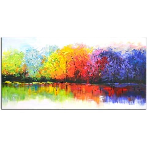 Reflective rainbow trees Original Oil Painting on Canvas