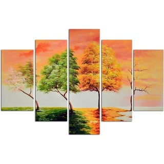 Seasonal Trees Original Oil Painting on Canvas - Set of 5
