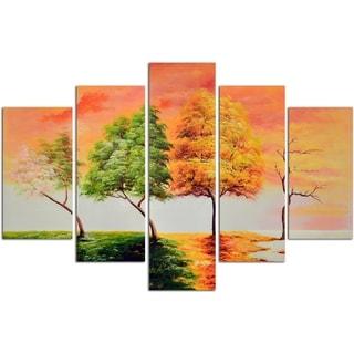 Seasonal Trees Original Oil Painting on Canvas - Set of 5