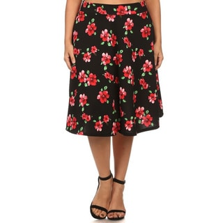 MOA Collection Women's Plus Size Floral A-line Pencil Skirt