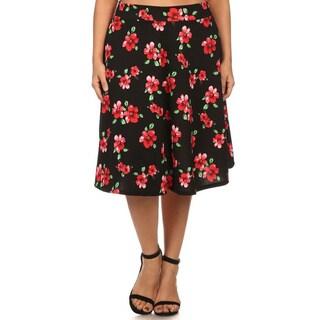 MOA Collection Women's Plus Size Floral A-line Pencil Skirt