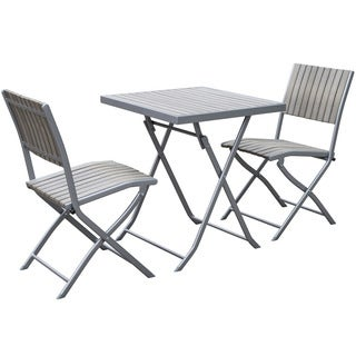CorLiving Gallant Sun Bleached Grey 3-piece Outdoor Folding Bistro Set