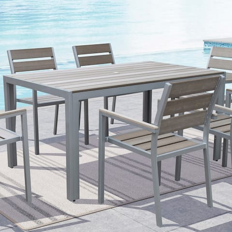 Havenside Home Tumaco Sun-bleached Grey Outdoor Dining Table