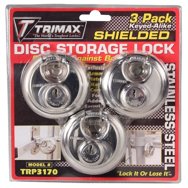 Trimax TRP3170 Round Stainless Steel Padlocks 70mm 3 Pack