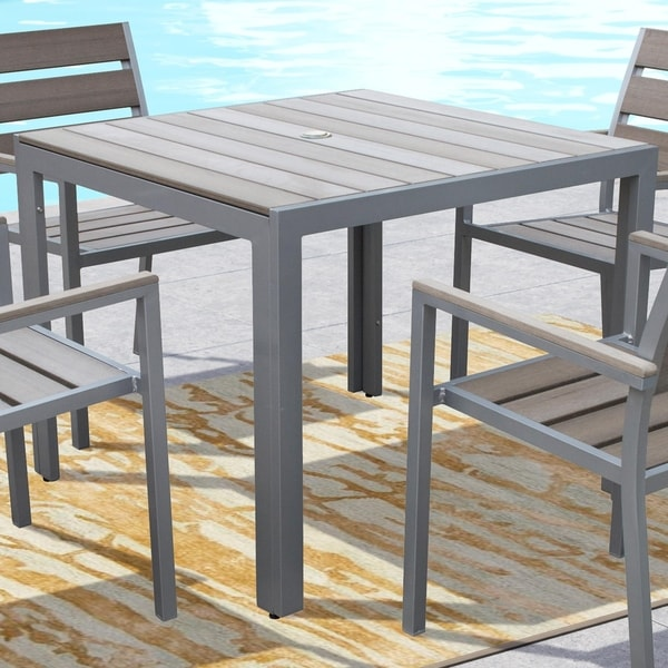 Shop CorLiving Gallant Sun Bleached Grey Square Outdoor Dining Table - Bleached wood dining table