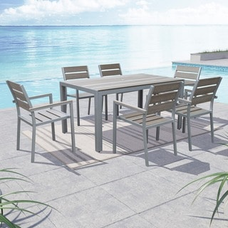 Link to Tumaco Sun-bleached Grey 7-piece Outdoor Dining Set by Havenside Home Similar Items in Outdoor Dining Sets