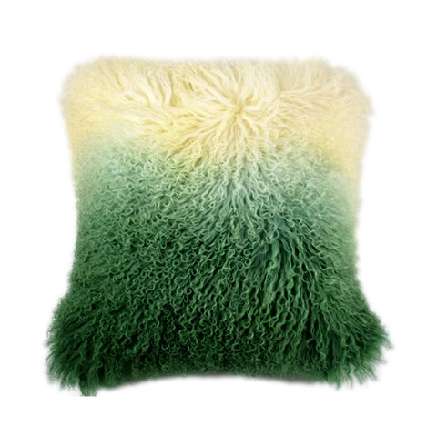 Aurelle Home Soft Mongolian Lamb Light Green Pillow
