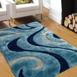 AllStar Rugs Blue Shaggy Area Rug With 3D Light Blue Design. Contemporary  Formal Hand Tufted