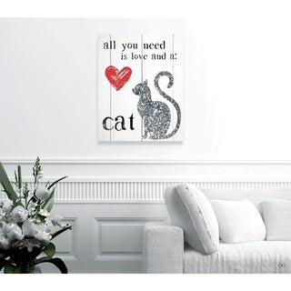 Oliver Gal 'Love and a Cat' Typography and Quotes Wall Art Canvas Print - Gray, Black
