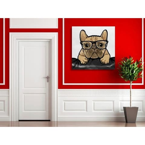 Oliver Gal ' 'Nerdy Frenchman' Brown Dogs and Puppies Gallery Wrapped Canvas Art