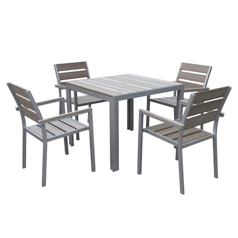 Tumaco Sun-bleached Grey 5-piece Outdoor Dining Set by Havenside Home