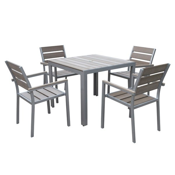 Tumaco Sun-bleached Grey 5-piece Outdoor Dining Set by Havenside Home. Opens flyout.